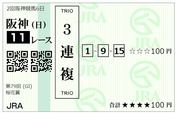 桜花賞の馬券・1-9-15